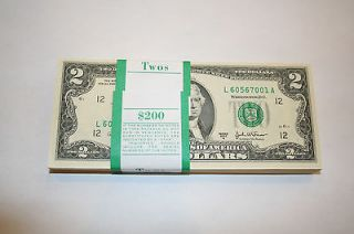 Two) Dollar Bills 10 NOTES in Sequential Order *$20 FACE VALUE