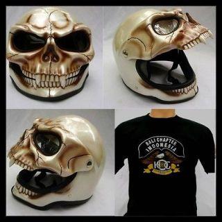 Harley Skeleton Skull Fullface 3D Airbrush Motorcycle Helmet + *FREE