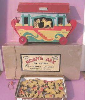 Vintage Milton Bradley Bumpa Pull Toy Lithograph NOAH ARK Animals
