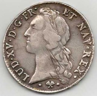 1765   ECU DARGEN   ROI LOUIS XV   OLD SILVER FRENCH COIN   FRANCE