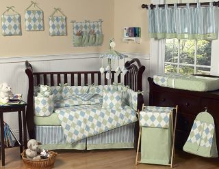 MODERN ARGYLE BLUE GREEN BOUTIQUE BABY BOY 9pc CRIB BEDDING SET FOR