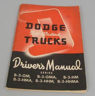 Dodge B 3 GM HM B 3 HHM B 3 HHMA 2 Ton Cab Over Truck Owners Manual