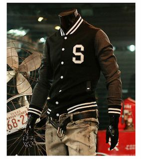Mens S Baseball jacket/Letterman Varsity jacket Black Small size