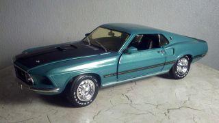 Ertl American Muscle 1969 Mustang Mach 1 Aqua Green 118 DieCast Metal