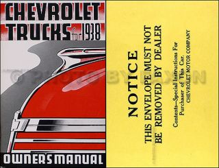 1938 Chevy Pickup and Truck Owner Manual with Envelope also some 1937