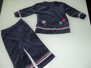 Girls Velour Flower Sweater Shirt Top Pants 2 pc Sets Outfit clothes