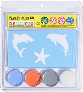 Face Paint Painting Stencil Kit Aquarium #1   Shark, Dolphin, Starfish