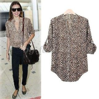 New Womens Leopard Print Shirt 3/4 Sleeve Tops Button Down T Shirt