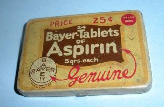 Vintage Bayer Aspirin Tin Advertising 1 3/4 by 2 1/2