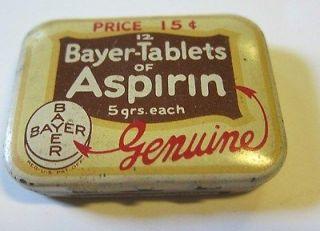 Bayer Aspirin Tin 15 cents~The Bayer Company 170 Varick St. New York