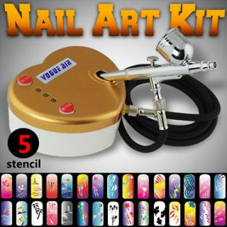 Stencil Sheet Dual Action Airbrush Kit Air Compressor Hobby Art Paint