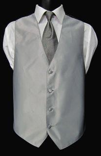 Mens XL Jean Yves Silver Fullback Vest & Tie Wedding Prom Bargain