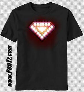 Tony Stark Glwoing Battery Core Marvel Avenger Hero T shirt top tee