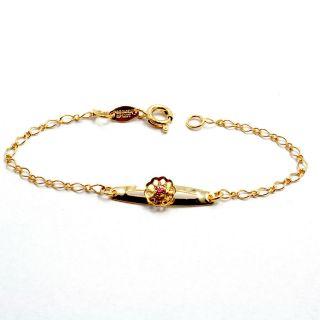 Gold 18k GF Pink Crystal Bracelet Baby Girl Kids Flower 5 Infants