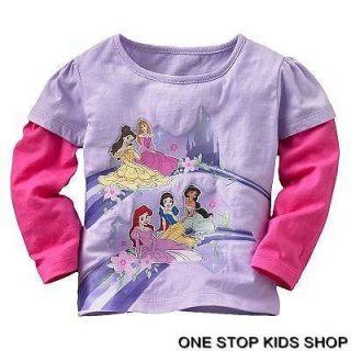PRINCESS Girls 2T 3T 4T Tee SHIRT Top ARIEL Belle Aurora Snow White