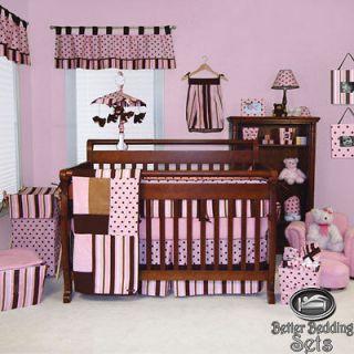 Baby Girl Kid Toddler Pink Brown Polka Dot For Crib Nursery Blanket