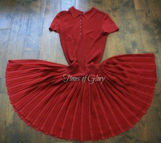 AZZEDINE ALAIA Silk Red FULL Skater CUTOUT Dress Skirt Size FR 36 UK 6
