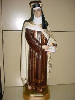 St Theresa of Avila VINTAGE CATHOLIC STATUE 17 TALL COMPOSITION