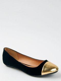 Womens Shoes BAMBOO MIRINA 02 TWO TONE SPIKE TOE CAP BOW BALLET FLATS