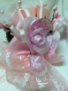 Baby Shower Corsage Its a Girl Pink Corsage Sheer Ribbon with