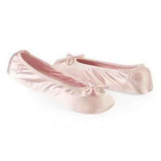 Ladies Isotoner Light Pink Satin Stretch Ballet Style House Slippers