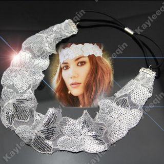 Flower Bling Sequin Wrap Forehead Head Hair Band Boho Hippy Festival