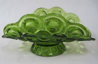 Smith Moon and Stars Green Pattern Glass Banana Boat
