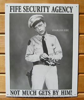 Barney Fife Security TIN SIGN metal poster decor funny bar garage gun