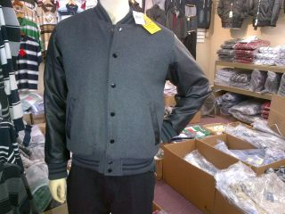 Gray Black Wool Varsity Jacket Wool Leather Long Sleeve Letterman