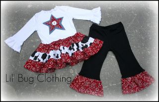 Custom Western Wear Cowgirl Set Bandana Pageant Girl
