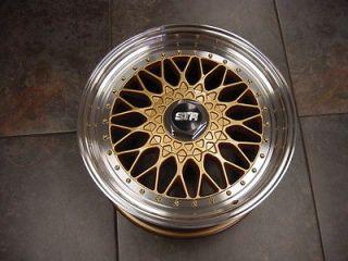 BBS RS Style Replica 17 Wheels 4x100 / 4x114 Gold w/ Polish Lip New