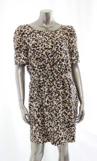 BCBGeneration NEW Brown Womens Scoop Neck Camo Casual Dress Size 12