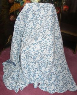 VINTAGE BLUE FLORAL BIRD TOILE QUILT FULL DOUBLE SIZE BEDSPREAD SHAMS