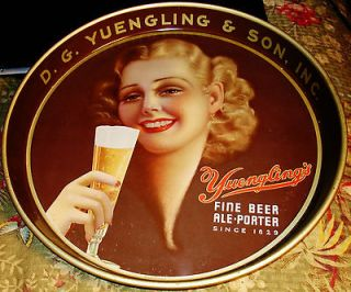 VINTAGE D G YUENGLING & SON BEER TRAY POTTSVILLE PA YOUNG GIRL