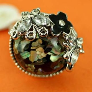 r8027 Size 6.5 Butterfly Flower Rhinestone Diamante Gem Fashion