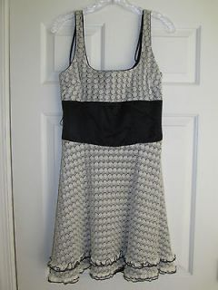 Bebe BLACK IVORY SILK LACE SLEEVELESS DRESS SIZE MEDIUM