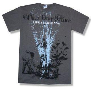THREE DAYS GRACE   LIFE STARTS NOW TOUR 2011 BEATDOWN GREY T SHIRT