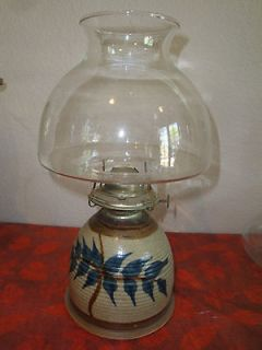 VINTAGE HANDMADE GLAZED POTTERY OIL LAMP WITH EAGLE BURNER