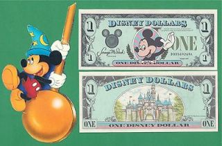 MICKEY MOUSE DISNEY DOLLAR D006 WORLD 1ST YEAR BILL SOUVENIR BANKNOTE
