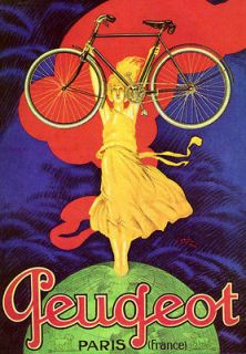 PEUGEOT PARIS HOLDING BIKE BICYCLE GLOBE CYCLES VINTAGE POSTER REPRO
