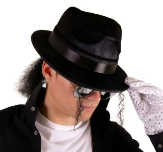 DRESS HAT WITH HAIR & GLOVE IN A KING OF POP MICHAEL JACKSON STYLE