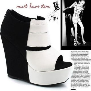 Style Black/White Stripe Split Joint Wedge Heels Platform Ankle