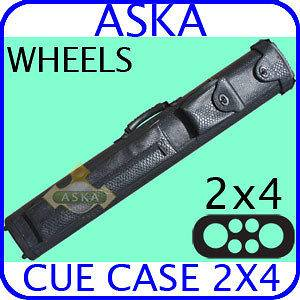 Billiard Pool Cue Case w/ Wheels 2x4 Aska C24P17 Black