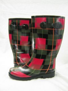 Ladies wellington boot red/black/green checked pattern