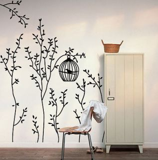 Sweet Home&Bird Cage&Trees Removable Wall Decal Vinyl Decor Sticker