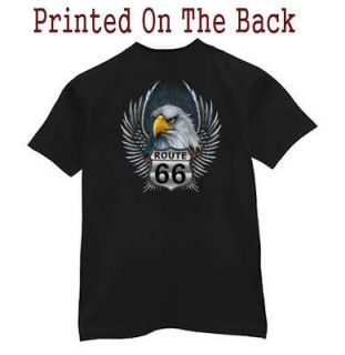 Pocket T shirt * Route 66 Biker Eagle Black Tee Shirt