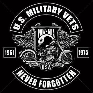 US MILITARY VETS POW MIA POCKET TEE T SHIRT MOTORCYCLE BIKER