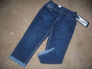 CODE BLEU* Dark Wash Cropped Jeans Rhinestones Size 6 Low Rise Nice