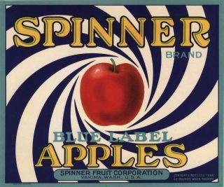 SPINNER (BLUE) ART DECO~ORIGINAL 1930s YAKIMA WASHINGTON APPLE FRUIT