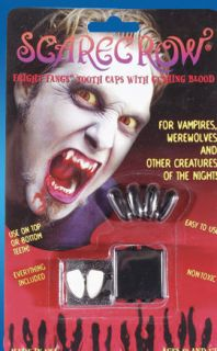 HALLOWEEN SCARECROW VAMPIRE FANGS WITH BLOOD CAPSULES